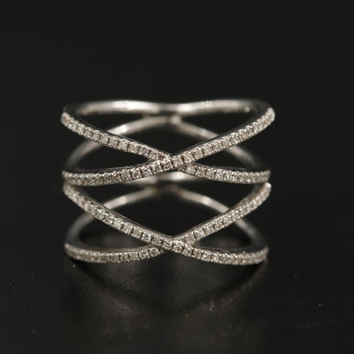 Sterling Diamond Double Crossover Ring