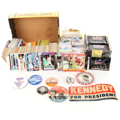 Sports Cards and Presidential Campaign Buttons Featuring JFK, Clinfton, Taft