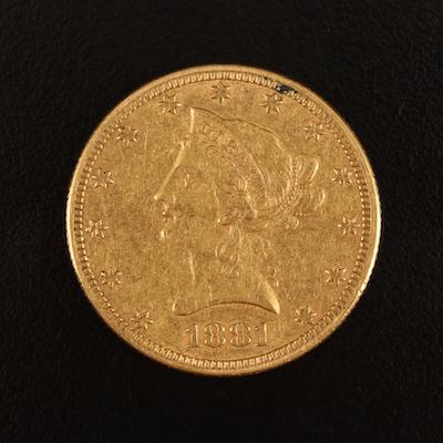 1881 Liberty Head $10 Gold Coin