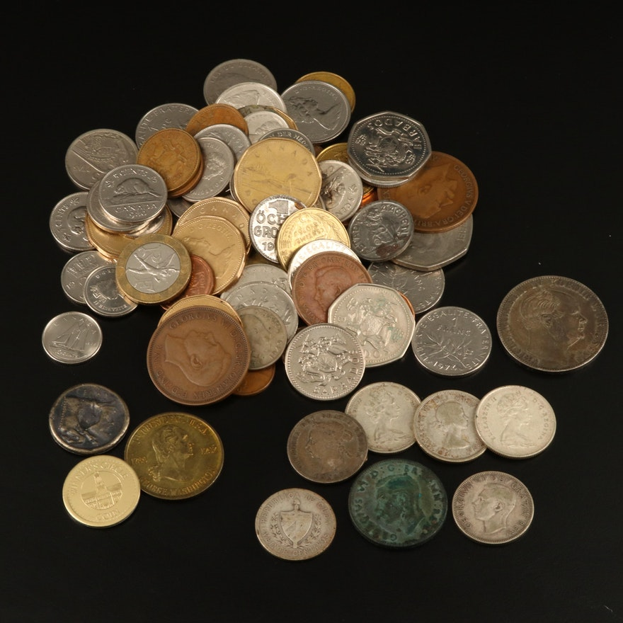 Group of Various Foreign Coins Including Silver