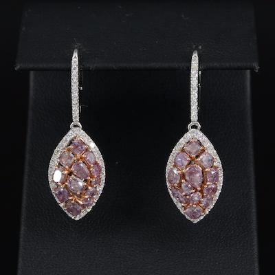 18K 4.55 CTW Diamond Navette Drop Earrings with GIA Report