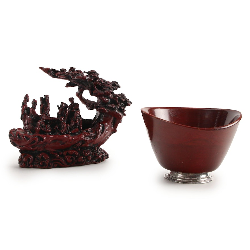 Chinese Resin Figurine of the Eight Immortals, with Sterling Mahogany Nut Bowl