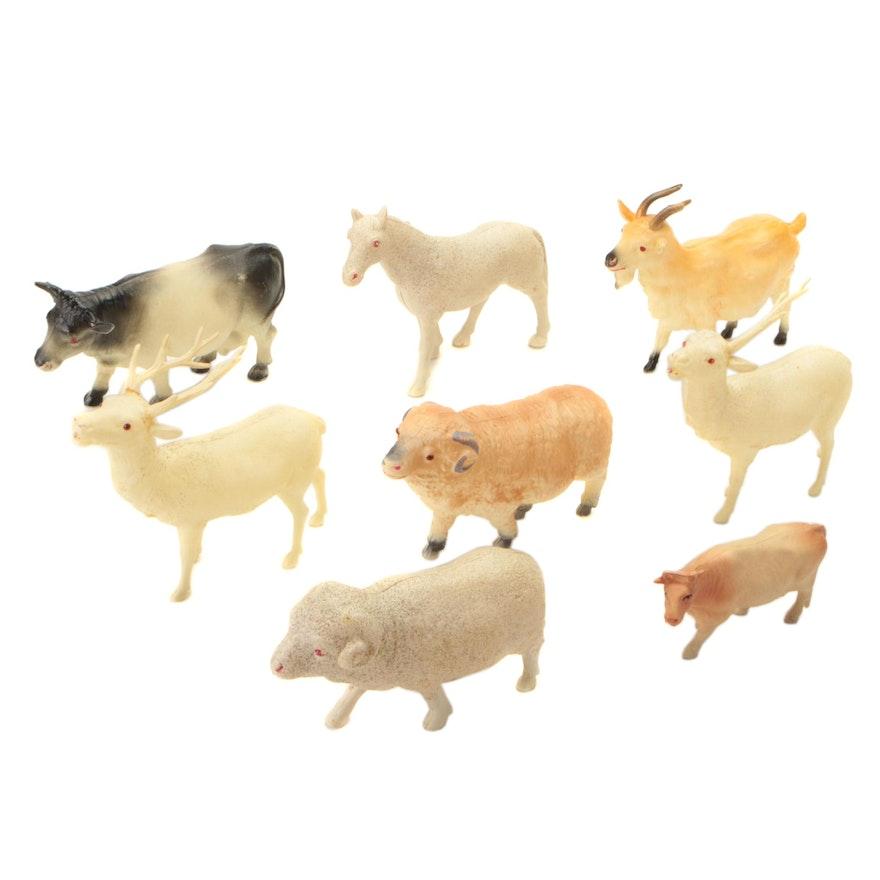 Japanese Celluloid Reindeer and Farm Animal Toys, Mid-20th C.