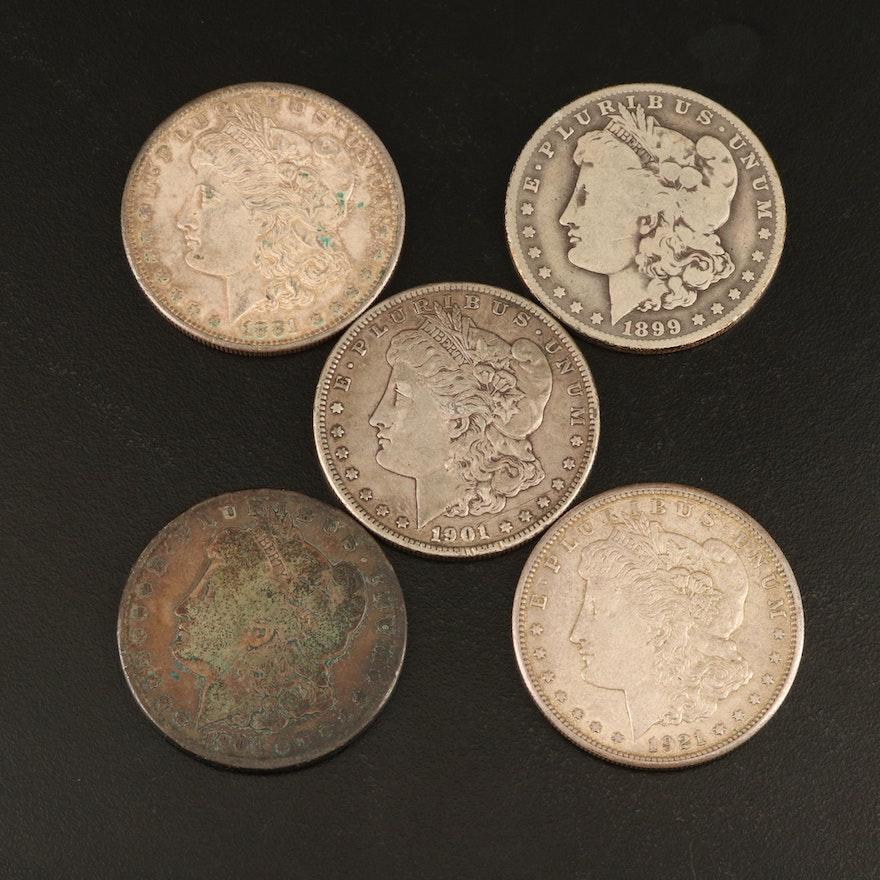 Five Morgan Silver Dollars