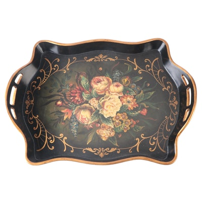 Floral Hand-Painted Gilt Accented Wooden Serving Tray, Late 20th Century