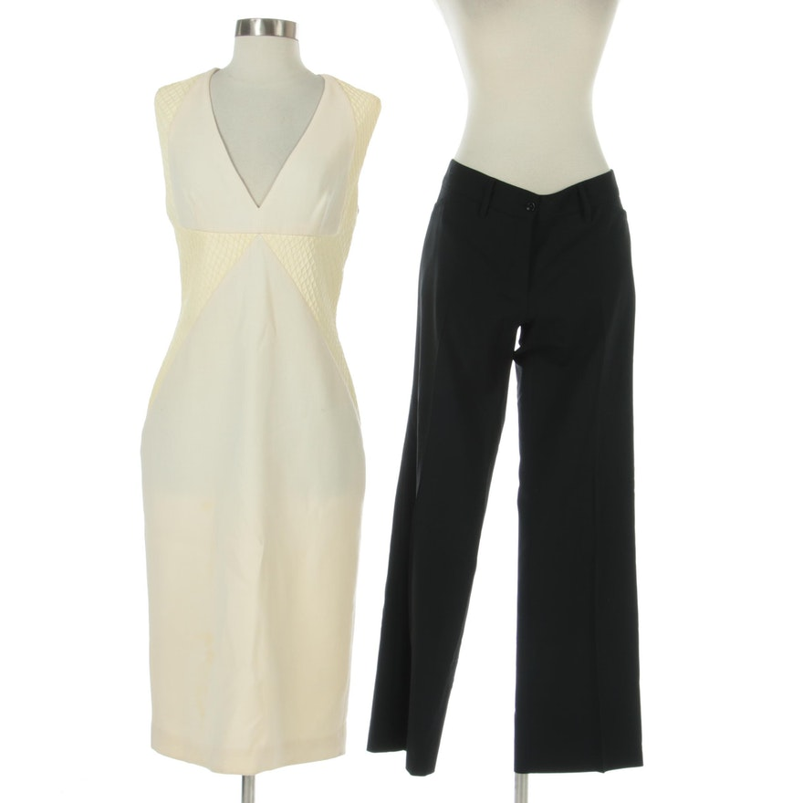 Dolce & Gabbana Black Wool Pants and Cushnie Et Ochs Dress in Wool and Leather