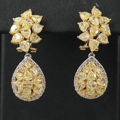 18K 9.53 CTW Diamond Teardrop Cluster Earrings with GIA Report