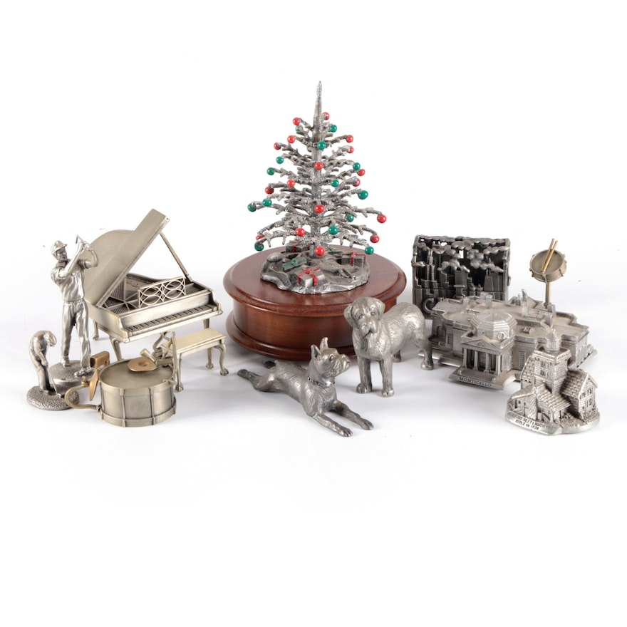 Cast Pewter Figurines Including Reuge Music Box, Late 20th Century