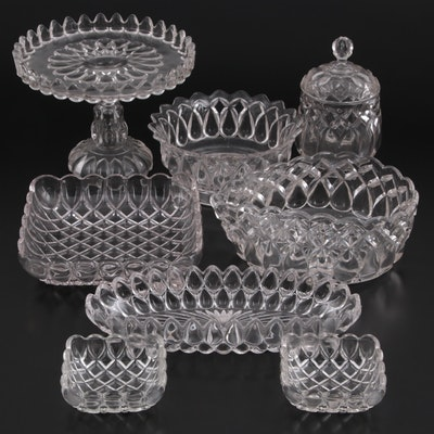 """EAPG Adams and Company """"Art"""" Cake Plate and Other Serving Pieces"""