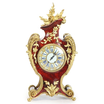French Gilt Ormolu Mounted Lacquered Wood Mantel Clock, 19th Century