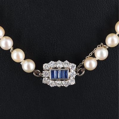 French Graduated Pearl Necklace with Platinum Sapphire and Diamond Clasp