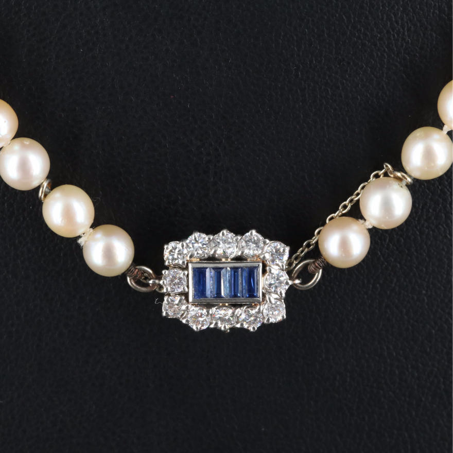 Boucheron Pearl Necklace with Platinum Sapphire and Diamond Clasp