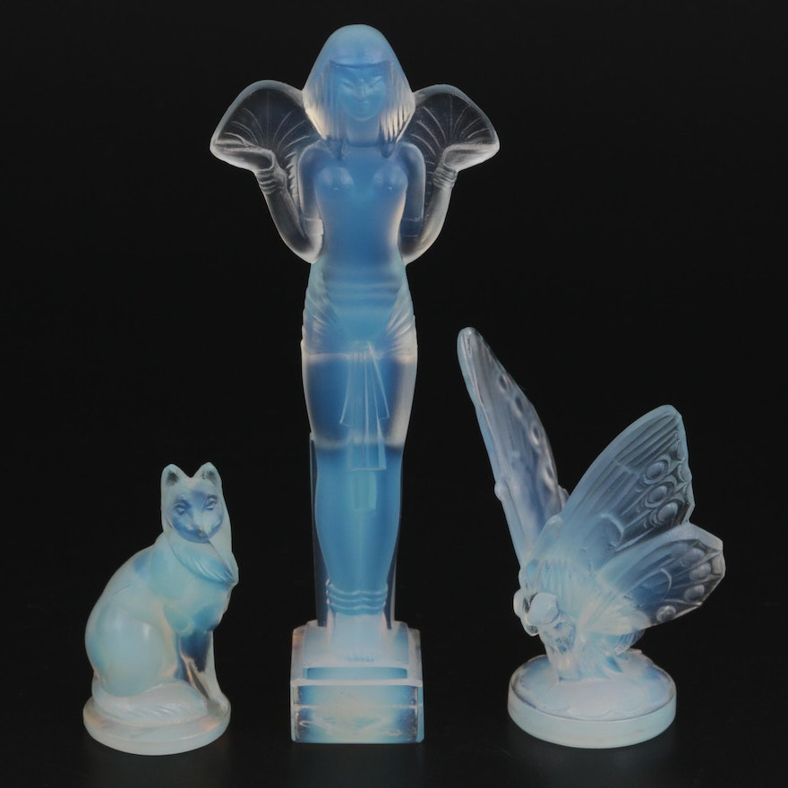 """Sabino """"Egyptian Statue"""" and Other Opalescent Glass Figurines"""