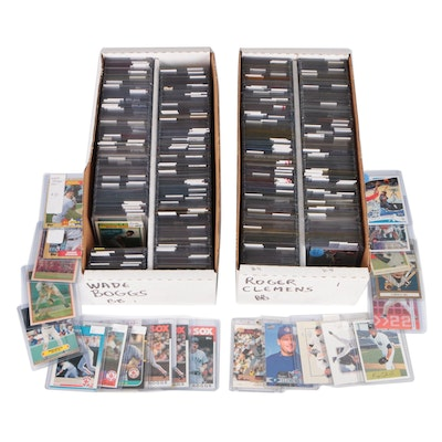 Roger Clemens and Wade Boggs Baseball Card Collection with Promos and Inserts