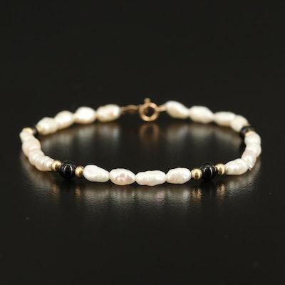 14K Freshwater Pearl and Onyx Bracelet