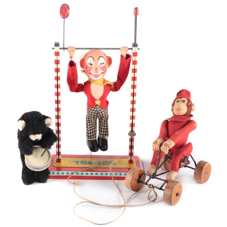 "Steiff Monkey Pull Toy with Ohio Art ""Toe Joe"" and Other Wind Up Bear"