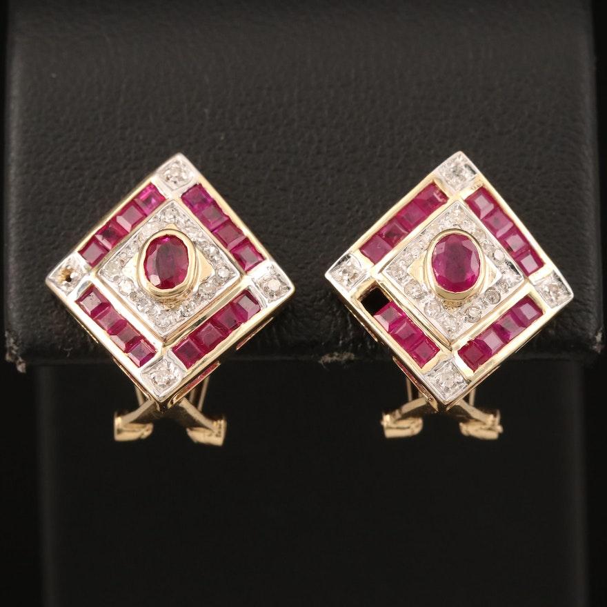 14K Ruby and Diamond Clip Earrings