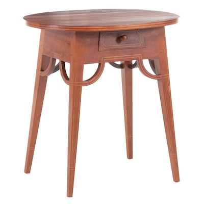 American Primitive Cherrywood and String-Inlaid Side Table, Late 19th Century