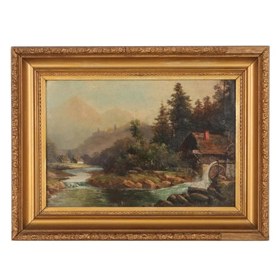 Mountain Landscape Oil Painting of Watermill, Late 19th Century