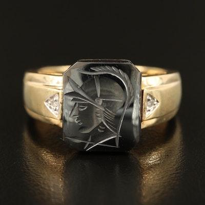 10K Carved Intaglio Hematite and Cubic Zirconia Ring