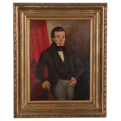 American Portrait Oil Painting of Young Man, Mid-19th Century