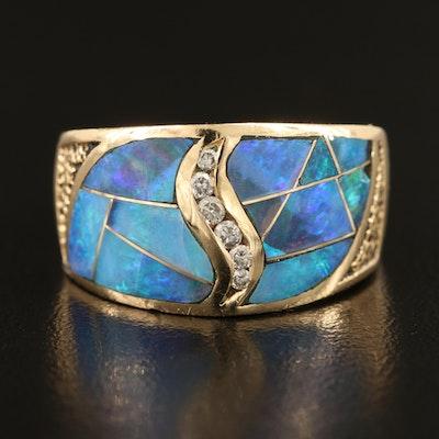 14K Opal Inlay and 0.10 CTW Diamond Ring