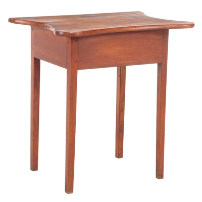 American Primitive Pine Side Table, 19th Century