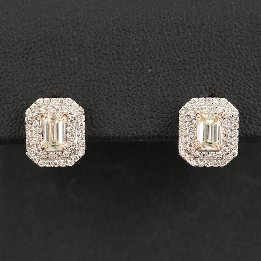 14K Diamond Double Halo Stud Earrings