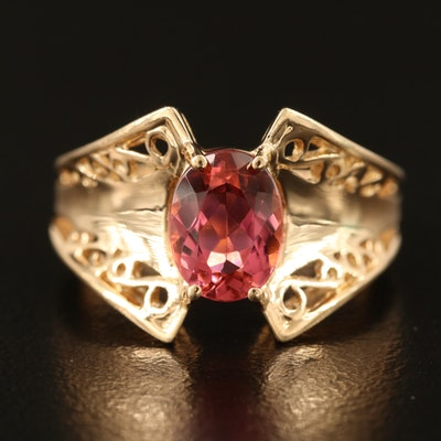 10K Pink Topaz Ring with Concave, Tapered and Scrollwork Shoulders