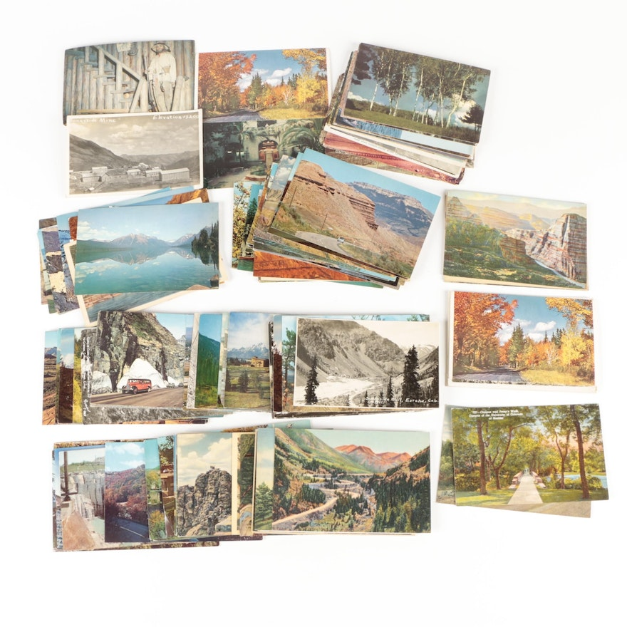 American Western Themed Souvenir Picture Postcards, Mid-20th Century