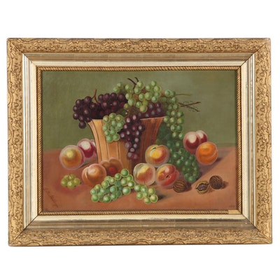 L.M. Adelsberger Still Life Oil Painting of Fruit, 1908