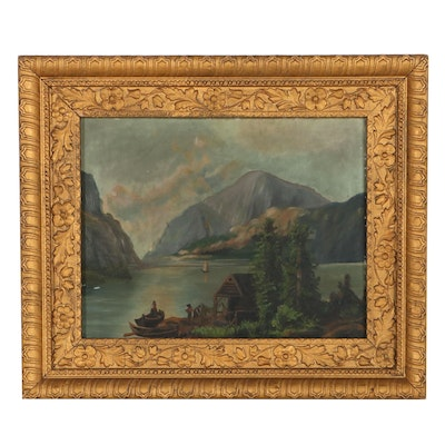 Mountain River Landscape Oil Painting, Early 20th Century