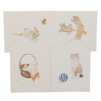 Offset Lithographs of Playing Cats, 1982