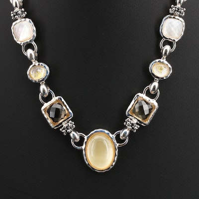 Michael Dawkins Sterling Necklace Including Citrine, Quartz and Mother of Pearl