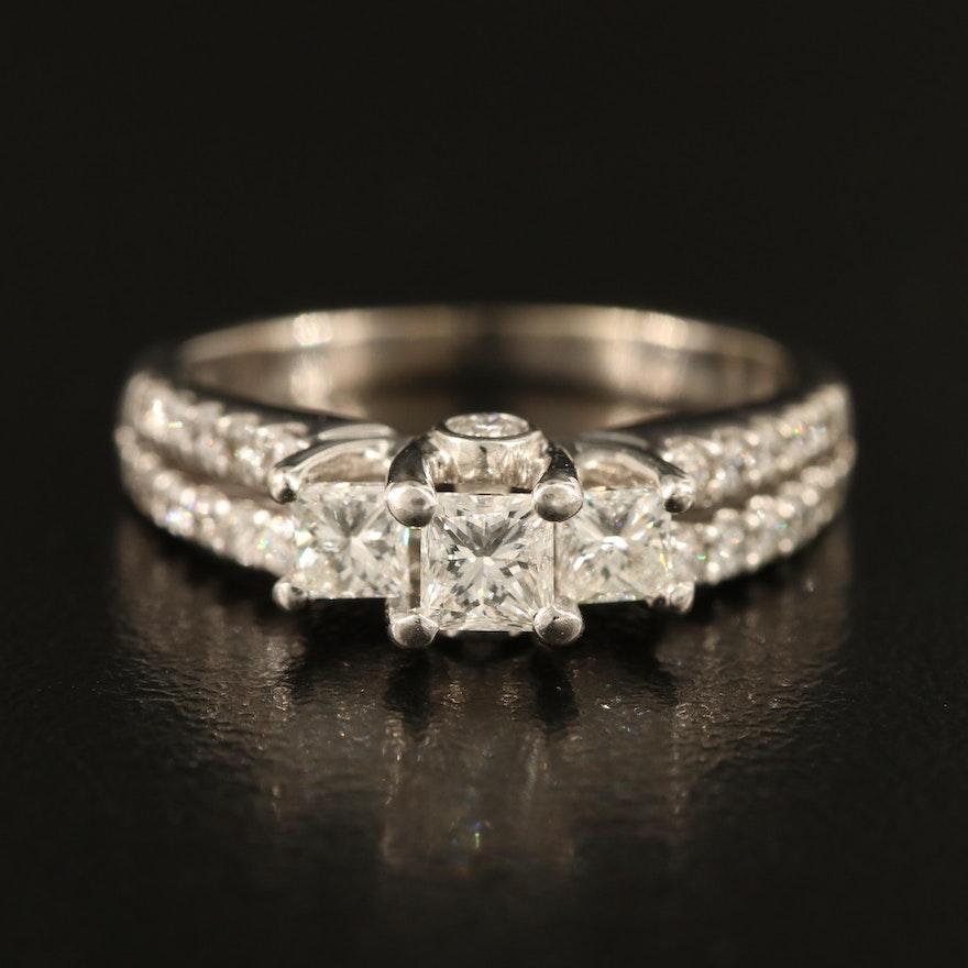 14K Diamond Ring with Peekaboo Diamonds