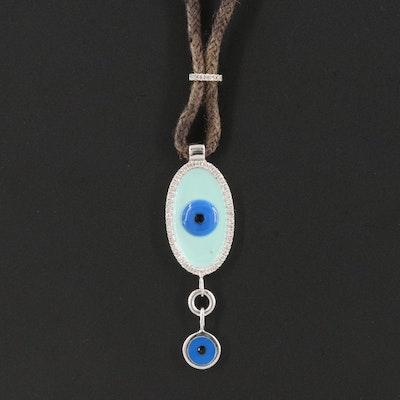 14K 0.21 CTW Diamond and Enamel Evil Eye Pendant Necklace