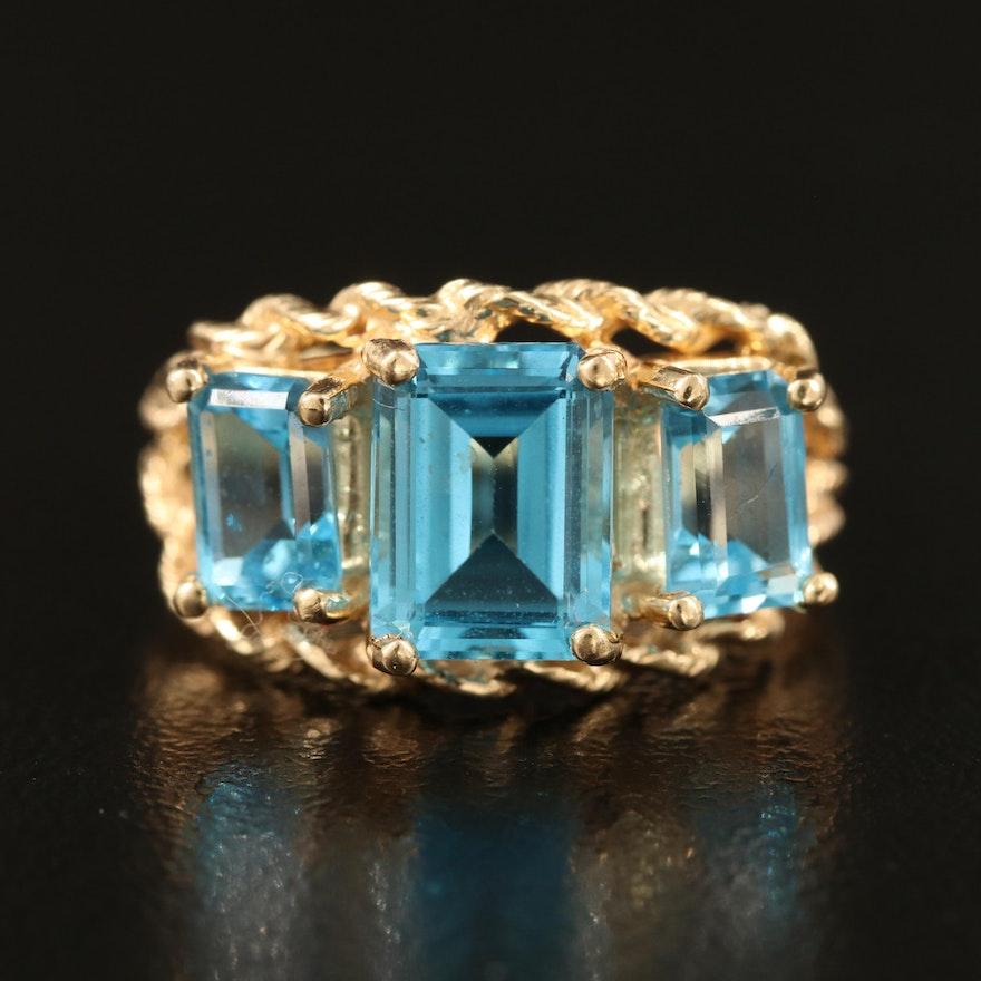 14K 2.75 CTW Blue Topaz Three Stone Ring