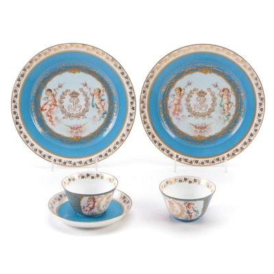 French Sevrés Style Porcelain Chateau des Tutleries Tableware, Antiques