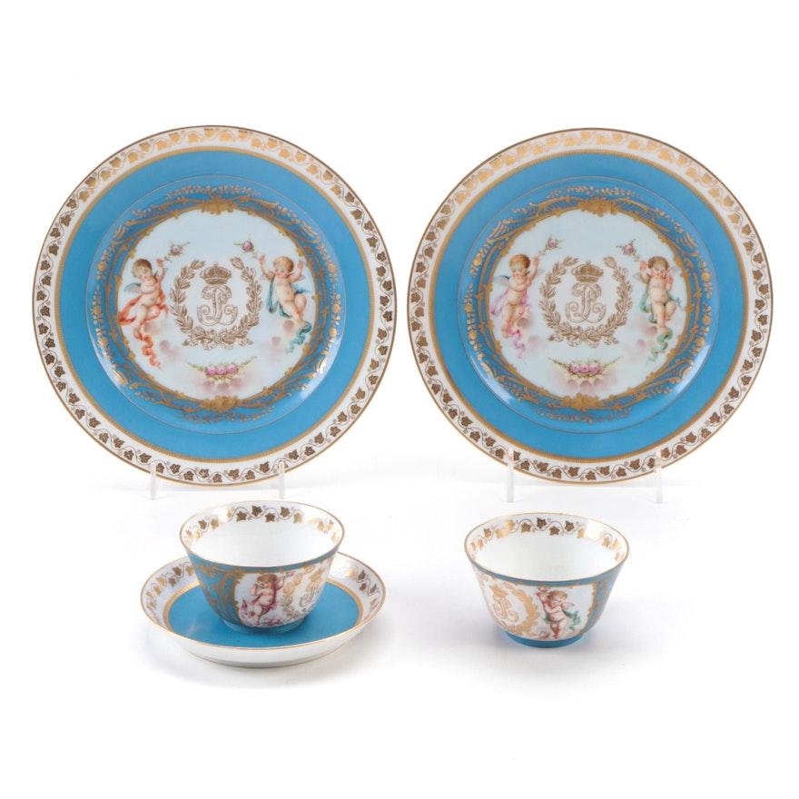 French Sèvres Porcelain Chateau des Tutleries Tableware, Antique