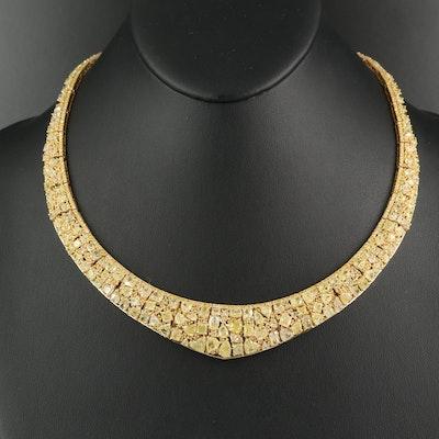 18K 50.17 CTW Yellow Diamond Bib Necklace with GIA Report