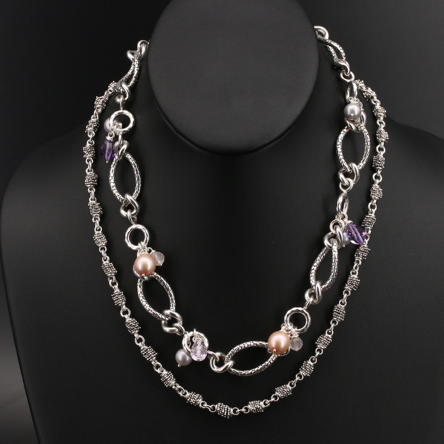 Michael Dawkins Stacked Beads and Pearl, Amethyst and Rose Quartz Necklaces