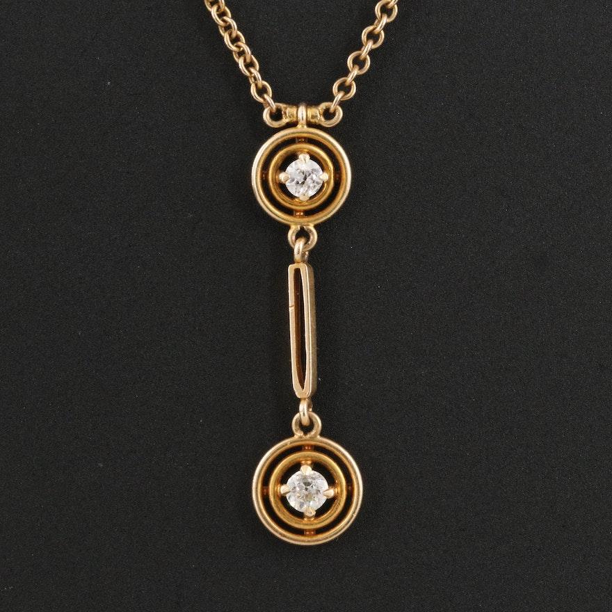 Antique 14K and 10K 0.10 CTW Diamond Lavalier Necklace