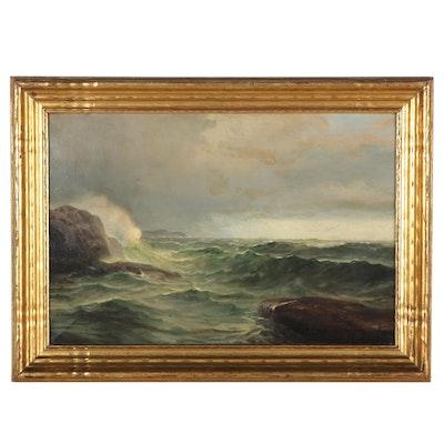 A.B. Jahnson Seascape Oil Painting, Early 20th Century