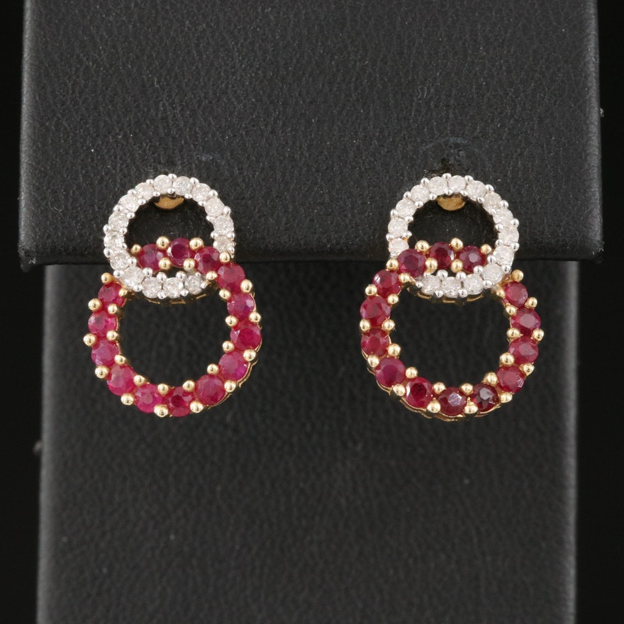 14K Ruby and Diamond Interlocking Circle Earrings