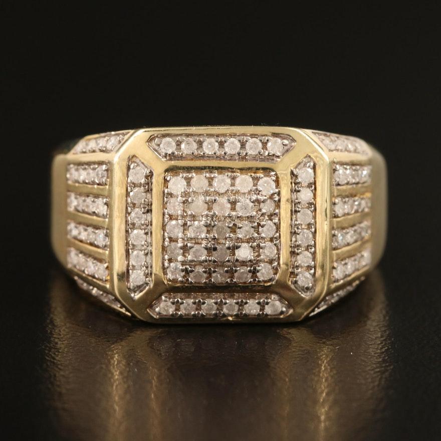 10K 0.75 CTW Diamond Square Ring