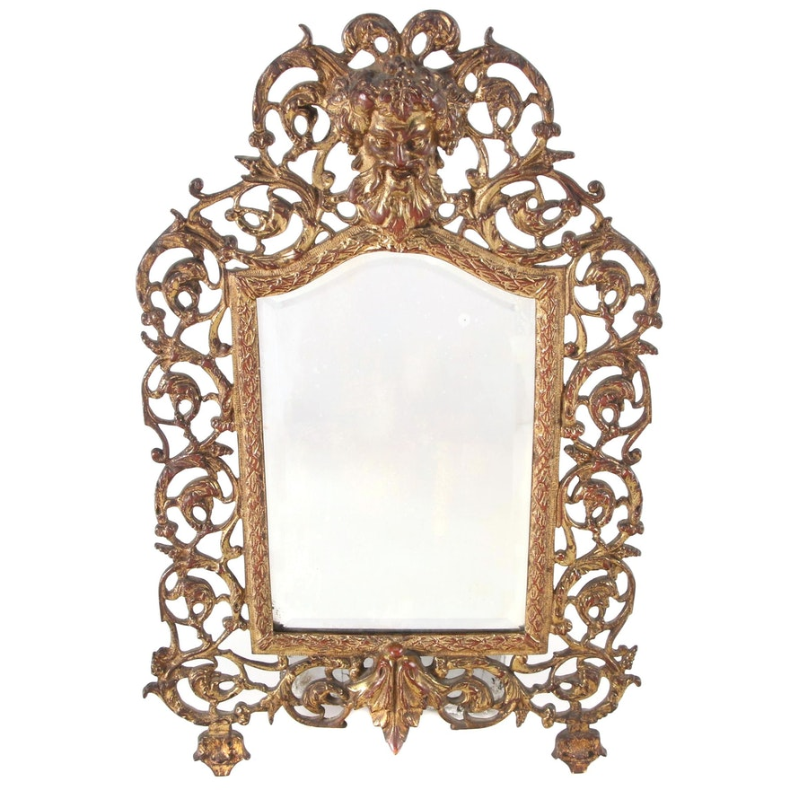 Baroque Style Gilt Metal Framed and Beveled Glass Wall Mirror