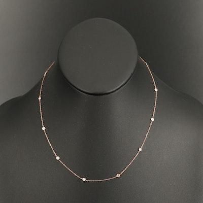 18K Rose Gold Diamond Bezel Station Necklace
