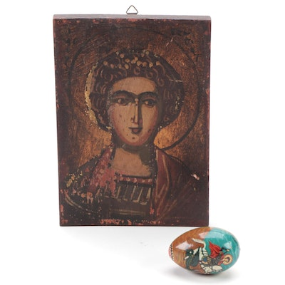 Greek Orthodox St. George Icon and Hand-Painted Wood Egg, 20th Century