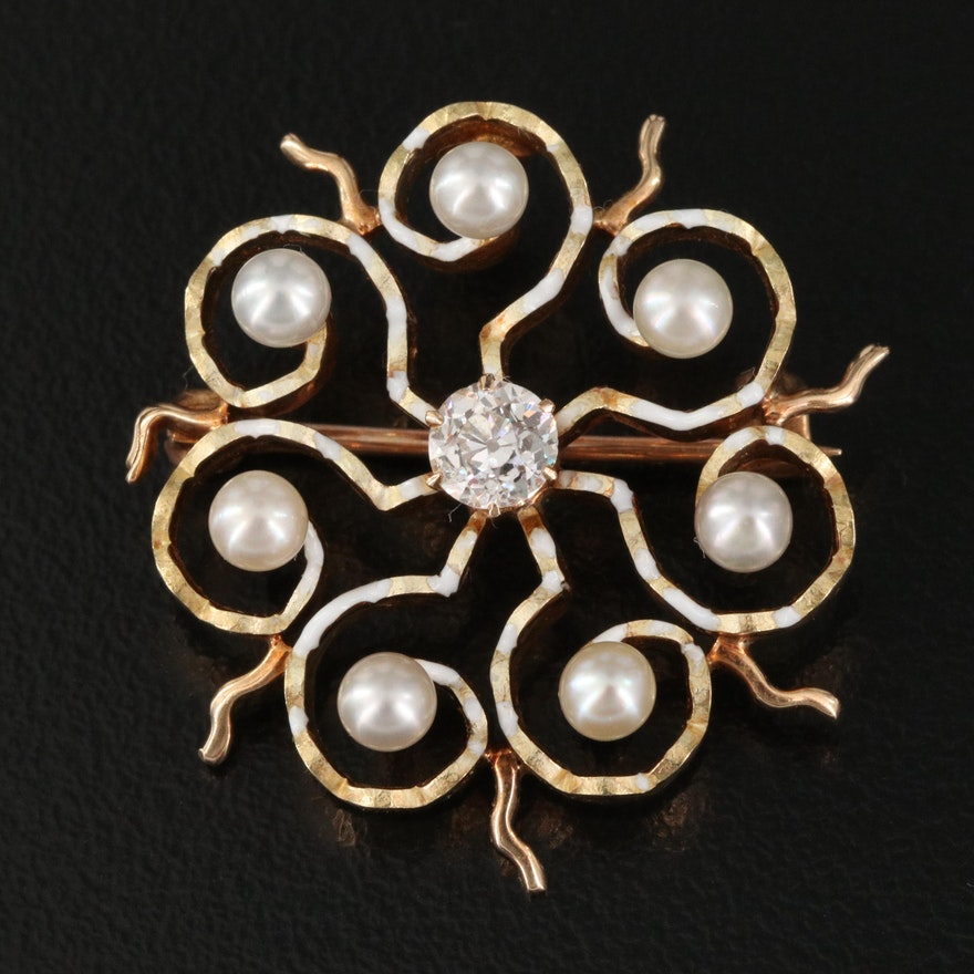 Circa 1910 14K Diamond and Pearl Pinwheel Brooch