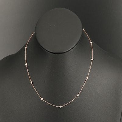 18K Rose Gold 0.50 CTW Diamond Bezel Station Necklace